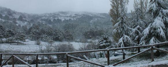 La nieve cubre de blanco la Serranía de Ronda en plena primavera, Los termómetros se desploman a valores invernales en una jornada en la que también granizó en la ciudad, 28 Apr 2013 - 19:29
