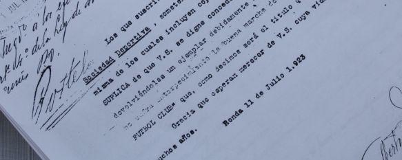 Instantánea del documento que atestigua que el C.D. Ronda es el equipo más antiguo de la provincia. // Manuel Guerrero