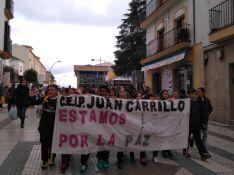 Los alumnos han portado pancartas y carteles durante la marcha.  // CharryTV