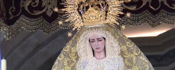 Devoción y fe en la salida extraordinaria de la Virgen de los Dolores por su 75 aniversario, La imagen estuvo arropada por multitud de fieles que fueron testigos de esta inusual salida por las calles de Ronda, 24 Sep 2018 - 13:16