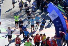 El corredor rondeño afincado en Burdeos, a su llegada a la línea de meta ubicada en la Tavern on the Green, en Central Park // CharryTV