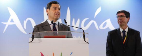 Juan Manuel Moreno reitera como presidente su compromiso de dotar a Ronda de una autovía, El popular ha estado presente en la inauguración de FITUR donde se encuentra un equipo de Canal Charry TV, junto a otros miembros del nuevo gobierno andaluz, 23 Jan 2019 - 19:53