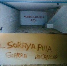 Imágenes de las pintadas en las que la regidora recibe amenazas y descalificaciones. // CharryTV