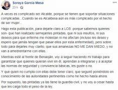 Soraya García respondía así a las pintadas en una publicación de su página de Facebook. // CharryTV