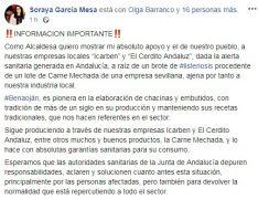 La alcaldesa de Benaoján ha suscrito las palabras emitidas por ambas compañías en su página personal de Facebook. // CharryTV