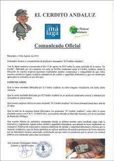 Comunicado de El Cerdito Andaluz tras la alerta sanitaria declarada. // CharryTV