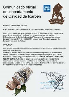Comunicado de Icarben tras la alerta sanitaria declarada. // CharryTV