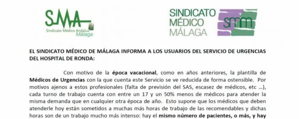 El Sindicato Médico advierte sobre la escasez de profesionales en Urgencias del Hospital, El responsable en Ronda del colectivo, Cristóbal Avilés, cuenta…, 21 Aug 2019 - 18:38