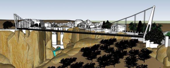 El arquitecto Adolfo Izquierdo proyecta un puente colgante en las cornisas del Tajo , La infraestructura tendría 282 metros de longitud y se ubicaría entre la entrada trasera del Parador de Turismo y la plaza del Campillo , 28 Jan 2020 - 16:52