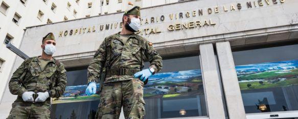 Unos 50 legionarios del Grupo de Caballería Reyes Católicos despliegan en Granada , Han realizado patrullas por el centro y algunas barriadas y han ayudado a poner en funcionamiento el Hospital Universitario San Cecilio, entre otras labores , 24 Mar 2020 - 21:47
