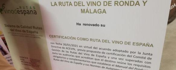 La Ruta del Vino de Ronda y Málaga renueva por dos años más su certificación, La Asociación de Ciudades del Vino ha felicitado a las bodegas de la comarca por superar el pasado noviembre varias auditorías con satisfactorias calificaciones, 11 Feb 2021 - 12:24