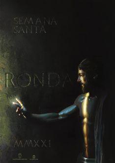 El Cristo Resucitado se abre paso en la penumbra en el Cartel Oficial de la Semana Santa de Ronda 2021. // CharryTV