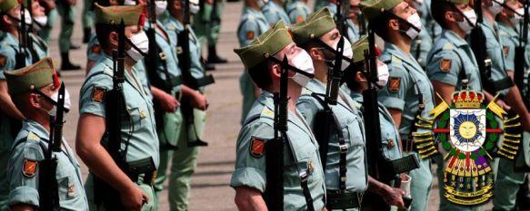 Legionarios del Grupo de Caballería Reyes Católicos, en un acto celebrado recientemente en el Patio de Armas del Cuartel de Ronda // Manolo Guerrero