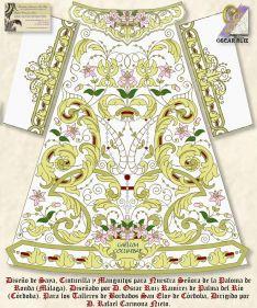 La nueva saya de María Santísima de la Paloma ha sido diseñada por Óscar Ruiz para los Talleres de Bordados San Eloy de Córdoba. // Luis Alberto García